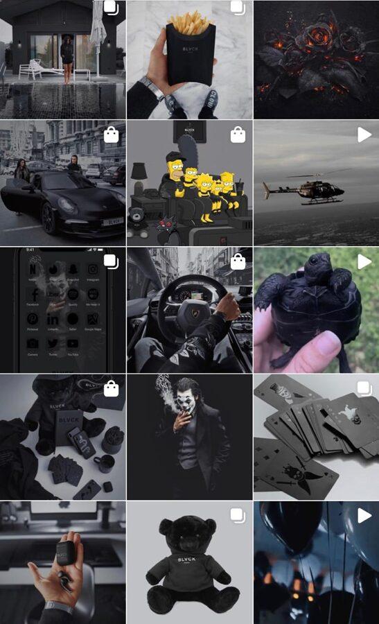 instagram black profile style